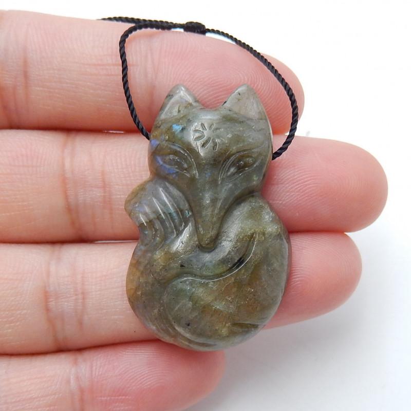 Fox Pendant,41.5CT Natural Labradorite Carved Fox Animal Necklace Pendant B