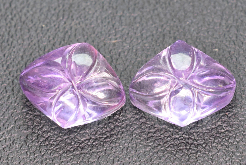 6.7 Cts pair of Amethyst carved ready to put in  jewelry