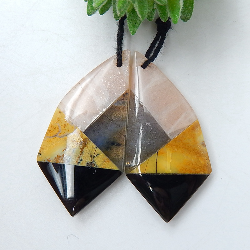 Sun Stone, Obsidian, Yellow opal and Labradorite Intarsia Gemstone Earring