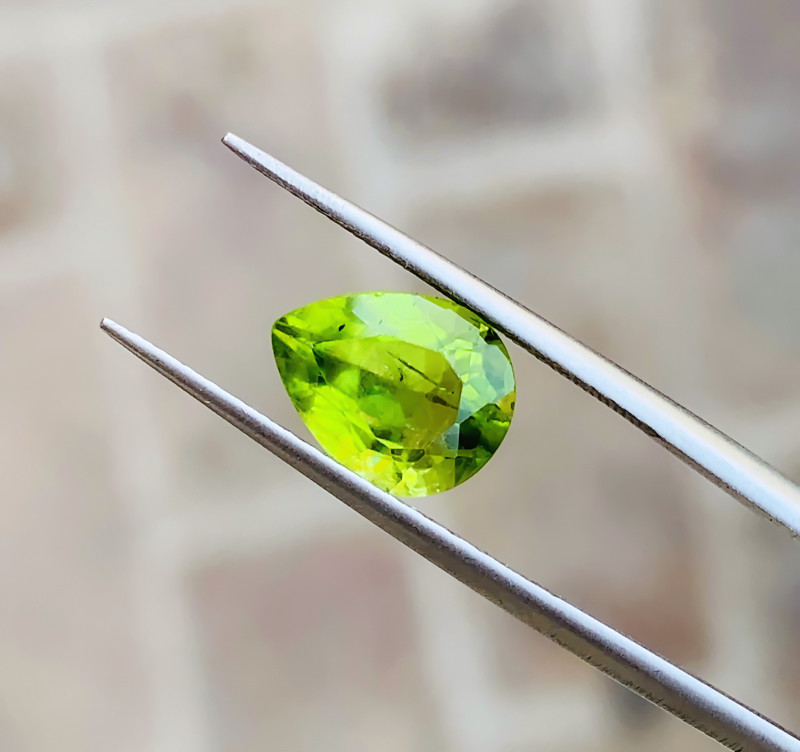 2.60 Ct Natural Green Yellow Pear Cut Semi Transparent Peridot Gemstone