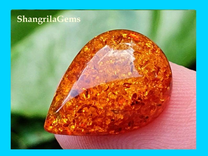 16mm Baltic Amber Drop pear shape cabochon red orange honey color 3.1ct 16