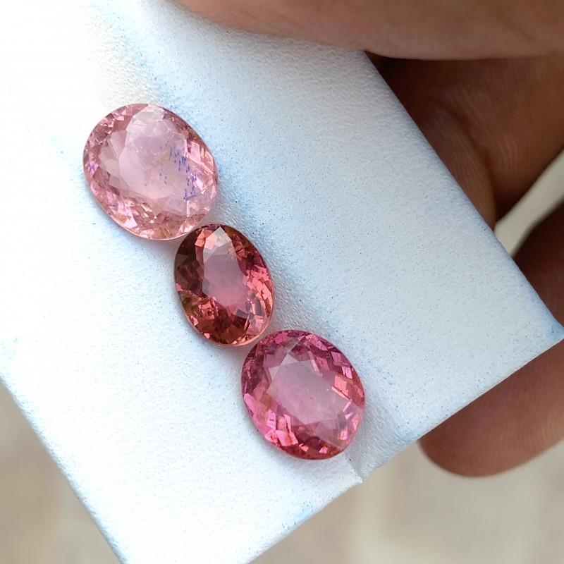 5.50 Ct Natural Pinkish Transparent Tourmaline Gemstones 3 Pieces
