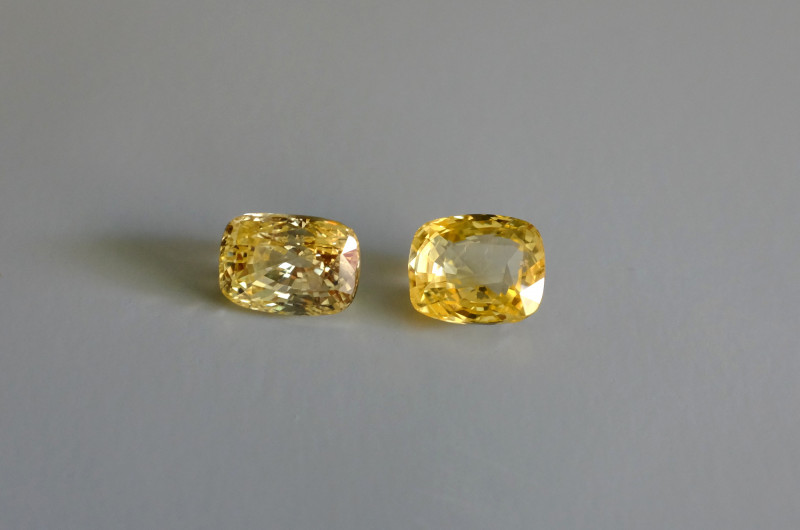 13.13ctw Yellow Sapphire Pair, Unheated, Sri Lanka