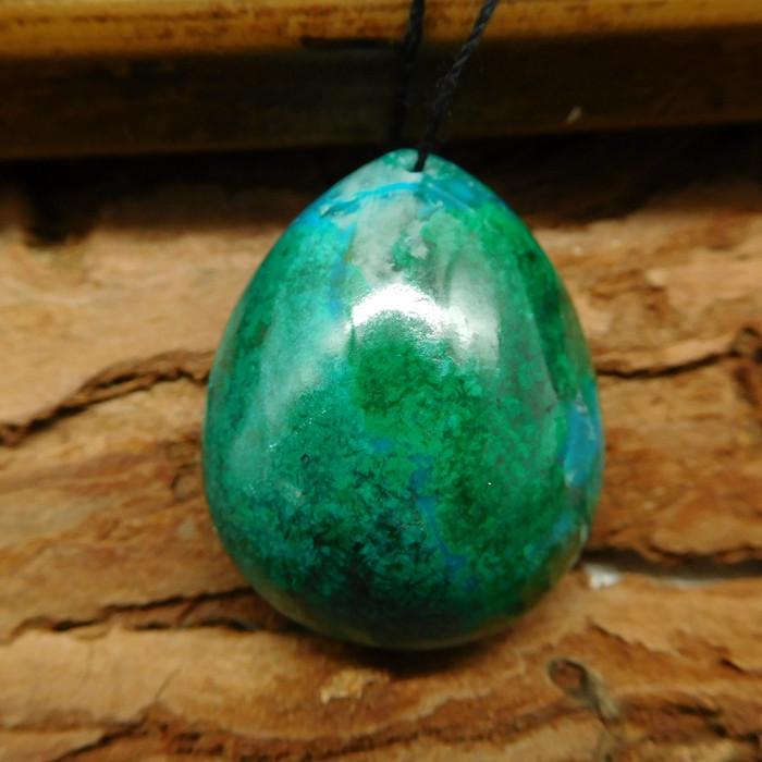 Green chrysocolla pendant bead (G0662)
