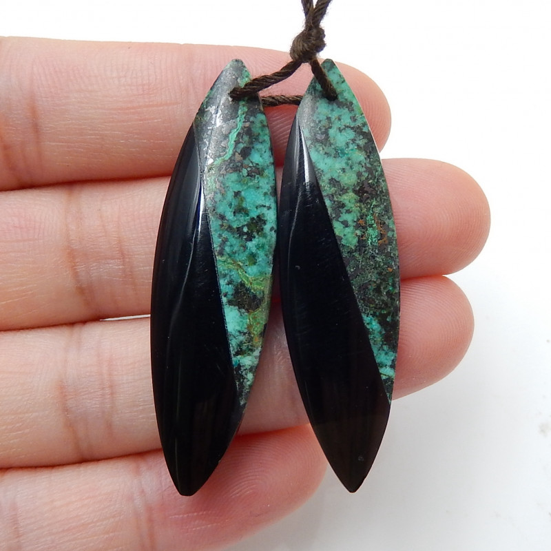 Natural African Turquoise ,Obsidian Intarsia Earrings Handmade Gemstone D87