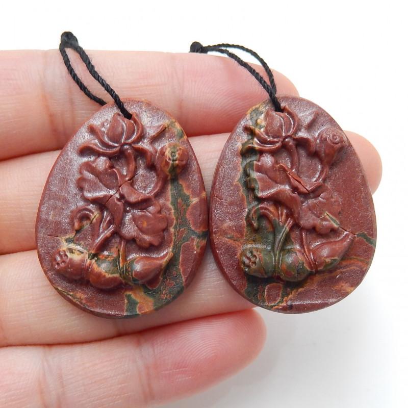Hand Carved Multi Color Jasper Earrings Gemstone beads, stone for earrings