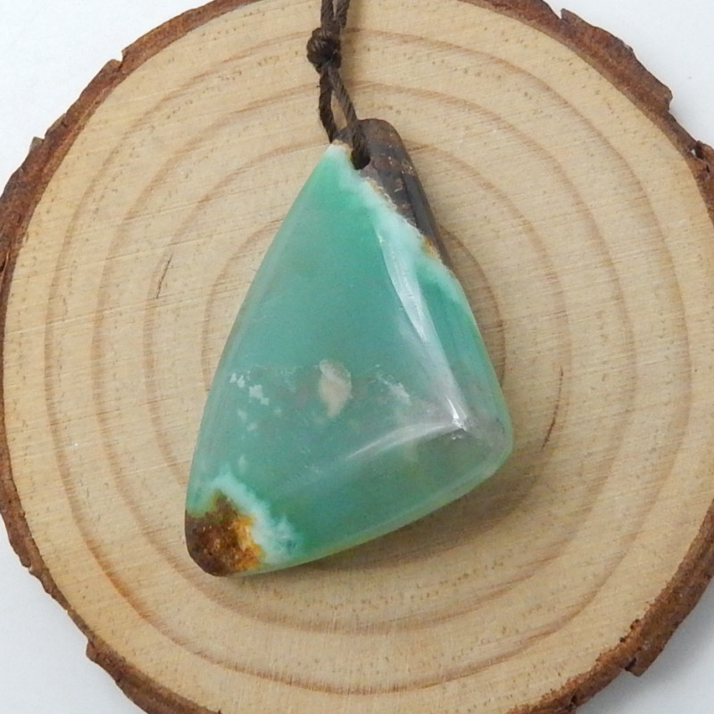 64cts Chrysoprase Pendant , Triangle Pendant , Chrysoprase gemstone pendant