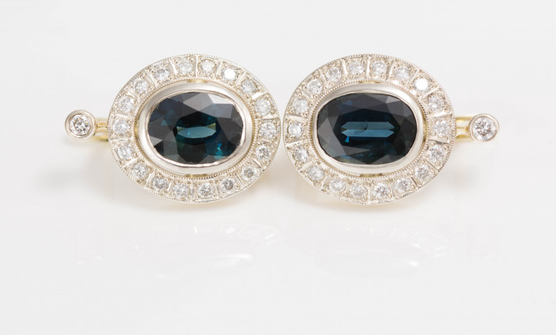 14 kt Gold  Earrings 4.03 ct Sapphire - New Jewelry