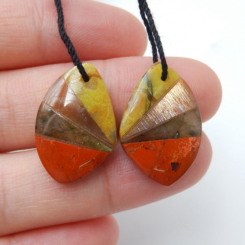 Red River Jasper ,Labradorite ,Sunstone ,Yellow Opal Intarsia Earrings D129