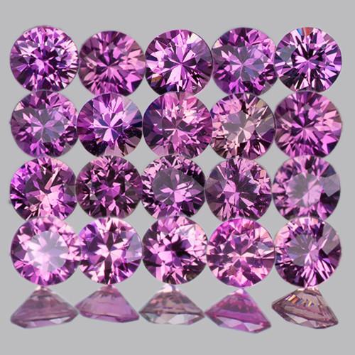 2.20 mm Round Machine Cut 20 pcs Unheated Purplish Pink Sapphire [VVS]
