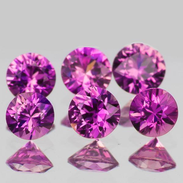 3.00 mm Round Machine Cut 6 pcs Unheated Purplish Pink Sapphire [VVS]