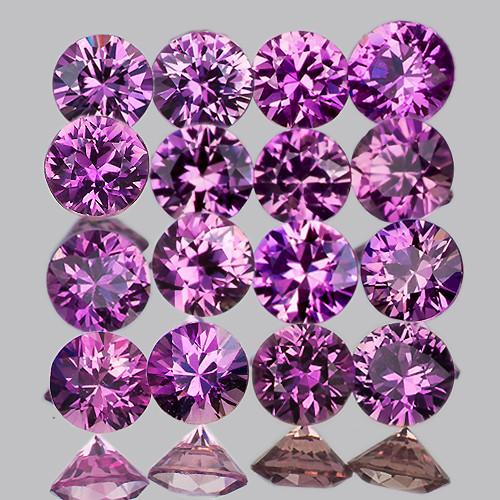 2.00 mm Round Machine Cut 25 pcs Unheated Purplish Pink Sapphire [VVS]