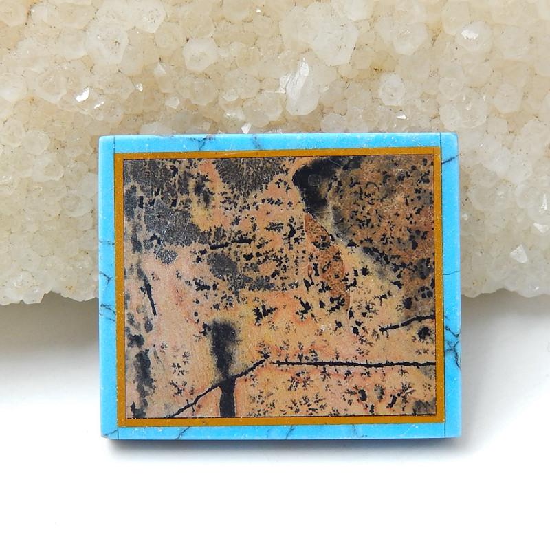 Natural Black Stone, Howlite And Chohua Jasper Rectangle Intarsia Gemstone