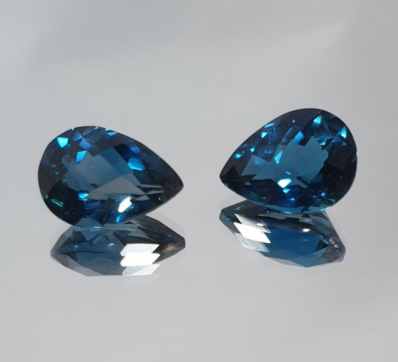 1 Pair Facetee Drops  11.9ct London Blue Topaz 13x9mm (SKU 103)