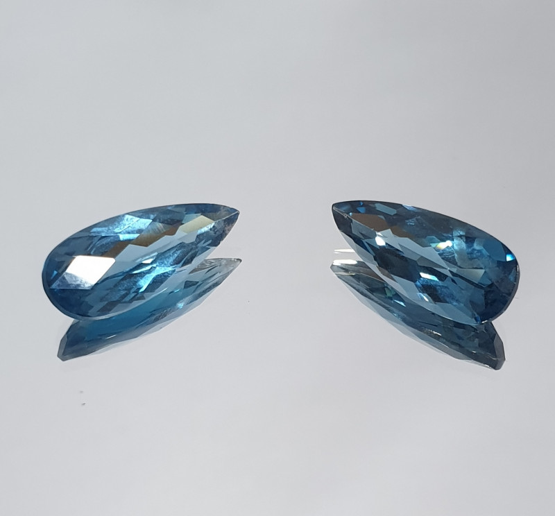 8.97 Ct 1 Pair London Blue Topaz Drop 17.6X7mm (SKU108)