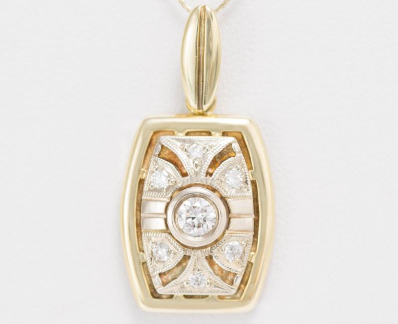 14 kt Gold  Pendant 0.31 ct Diamond - New Jewelry