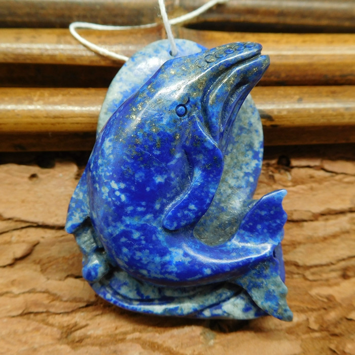 Lapis lazuli carved dolphin pendant whale craft (G0693)