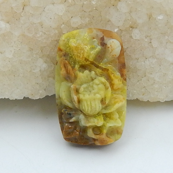 New Arrival,Vivid Flower Carving,Natural Yellow Opal Handcarved Flower Cabo
