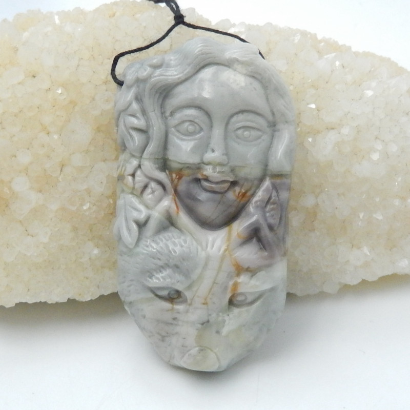 186.5Ct Natural Picasso Jasper Mermaid Carving,Beauty Carving D172