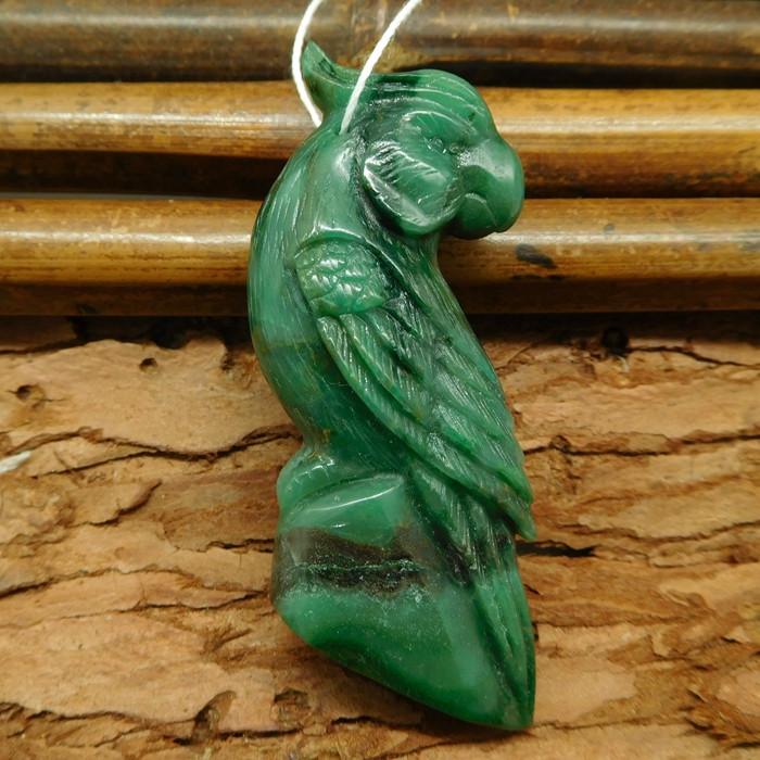 African jade carved parrot bird pendant (G0697)