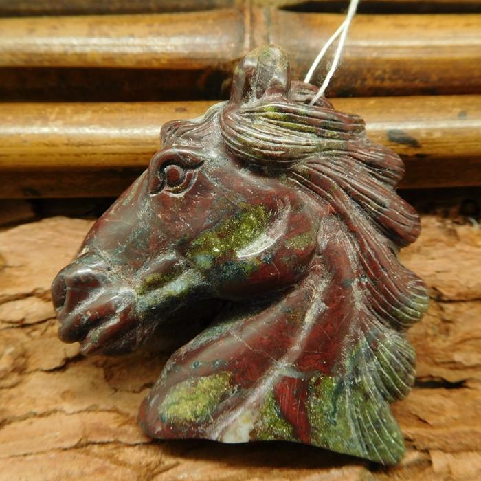 Dragon bloodstone carved horse pendant bead (G0703)