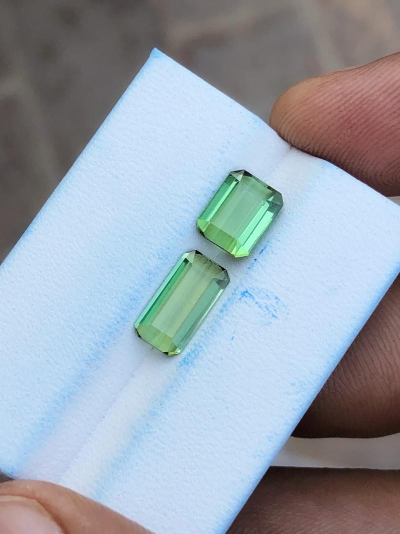 3.10 Ct Natural Greenish Transparent Tourmaline Gems Pairs