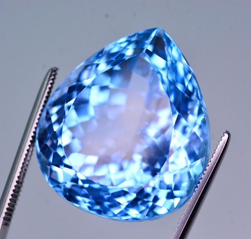 45.25 Ct Natural Fancy Pear Shape Blue Topaz Gemstone