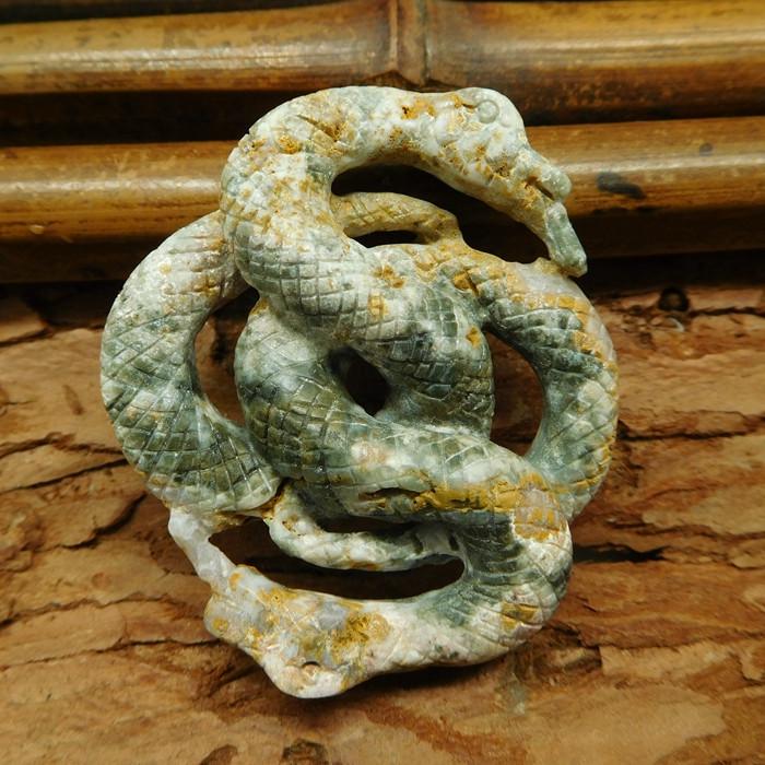 Natural ocean jasper carved snake pendant bead (G0707)