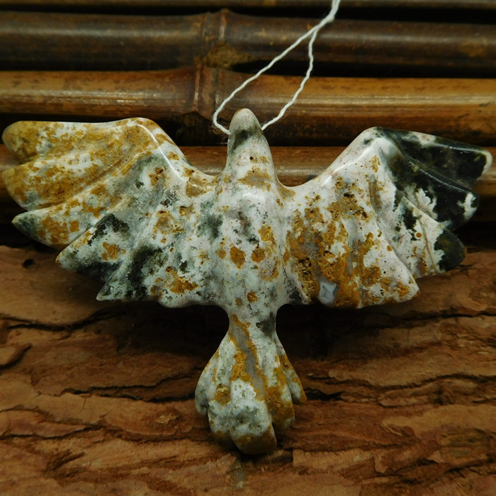 Ocean jasper carved bird pendant (G0709)