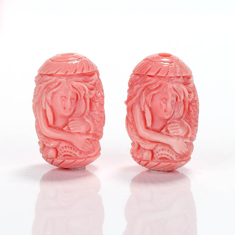 New Arrival Pink Conch Shell Carved Mermaid Earrings beads H7125