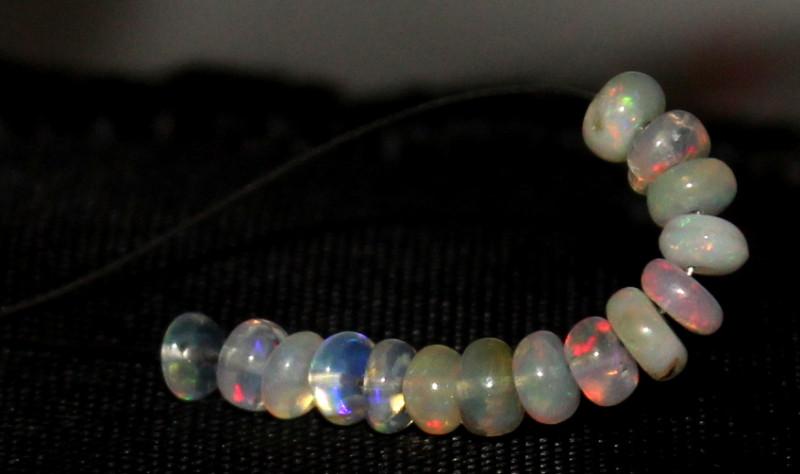 4.30 Crt Natural Ethiopian Welo Fire Opal Beads Demi Strand 4