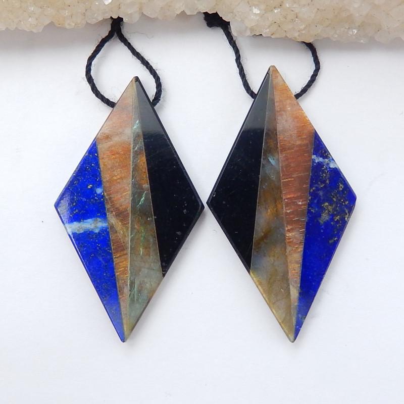 New Arrival Intarsia Earring Beads ,Labradorite,Sunstone ,Lapis ,Obsidian I