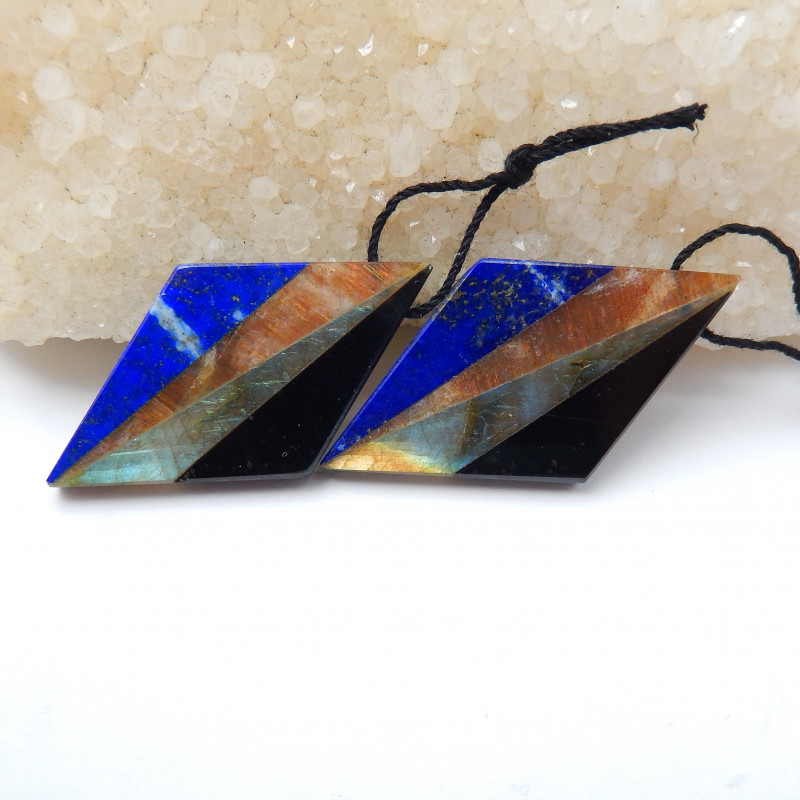 New,Labradorite,Obsidian Intarsia Gemstone Earring Bead Precious Stone Bead Gem Custom 43x12x5mm,8g,-S8797