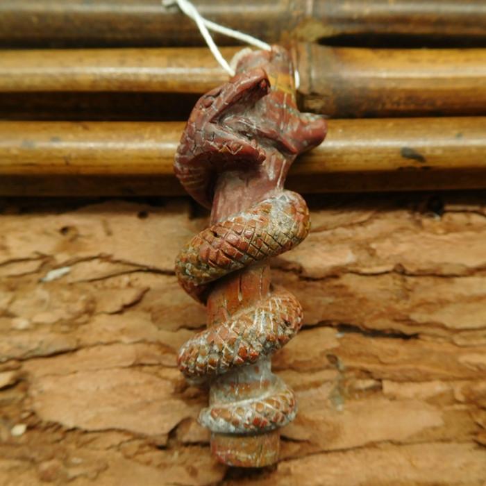 Crazy rosetta agate carved snake (G0728)