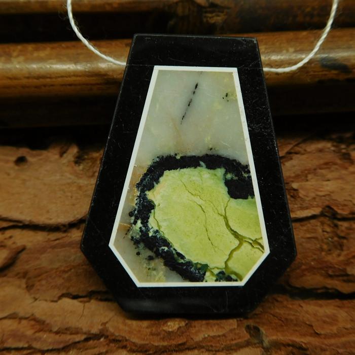 Serpentine obsidian pendant bead (G0731)