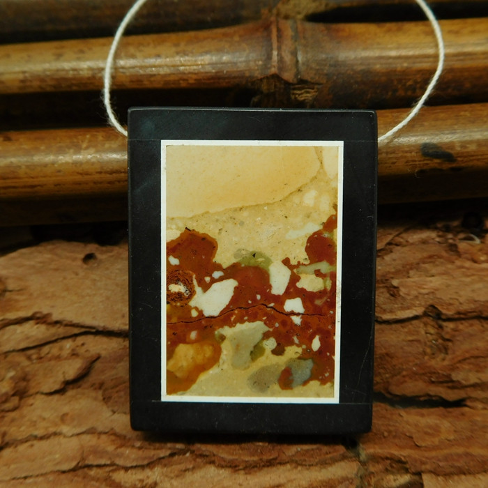 Picture jasper and obsidian pendant bead (G0735)