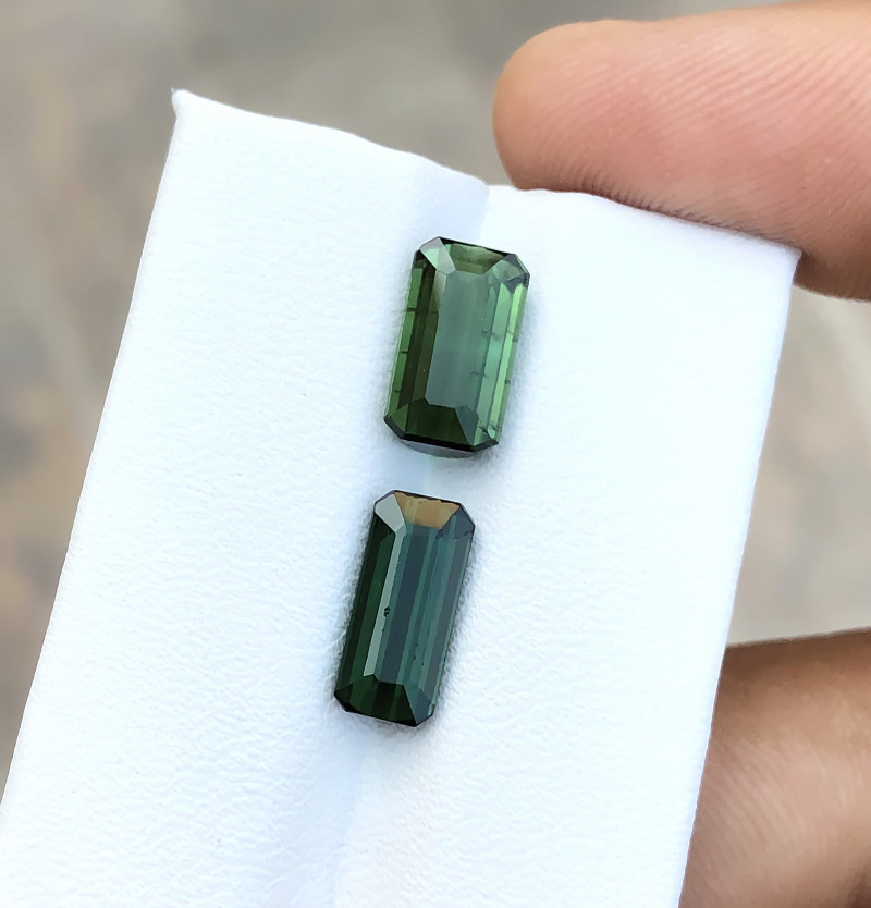 5.40 Ct Natural Dark Green Transparent Tourmaline Gems Pairs