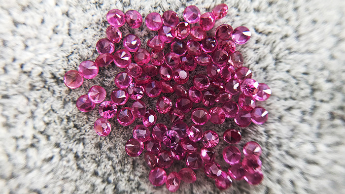 3.07ct - Round Cut Natural Ruby Lot - 1.7mm