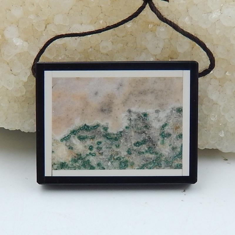 Sale Natural Obsidian ,Ocean Jasper Intarsia Pendant D276