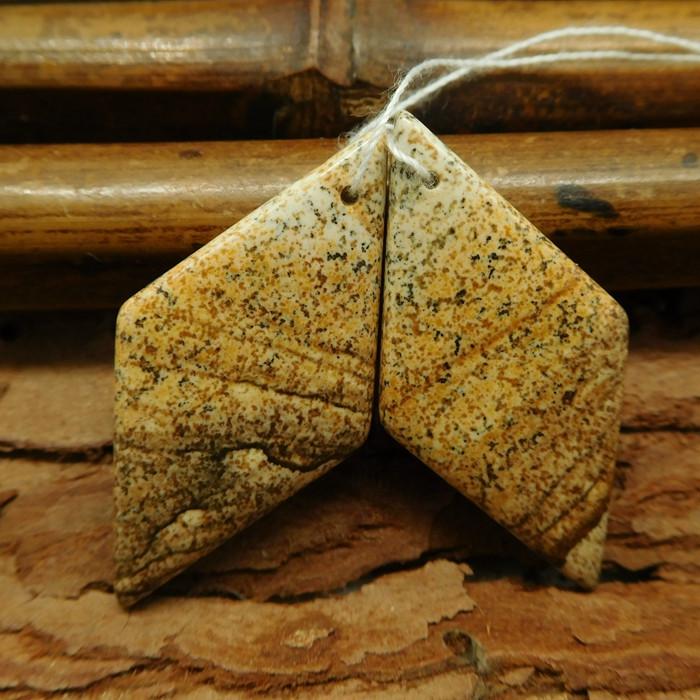 Natural gemstone picture jasper earring pairs (G0750)