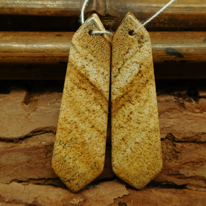 Picture jasper earring pairs (G0754)