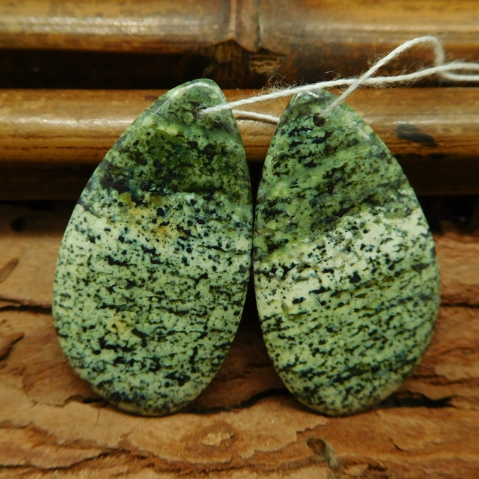 Green zebra jasper earring beads (G0755)