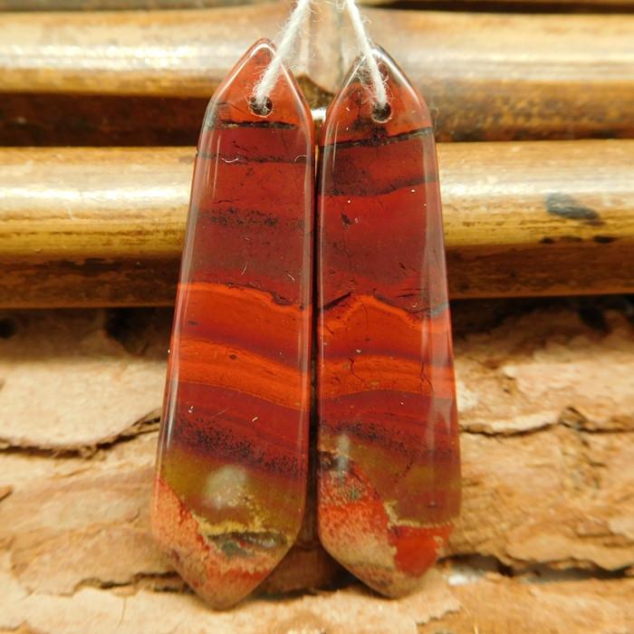 Red jasper earring beads (G0757)