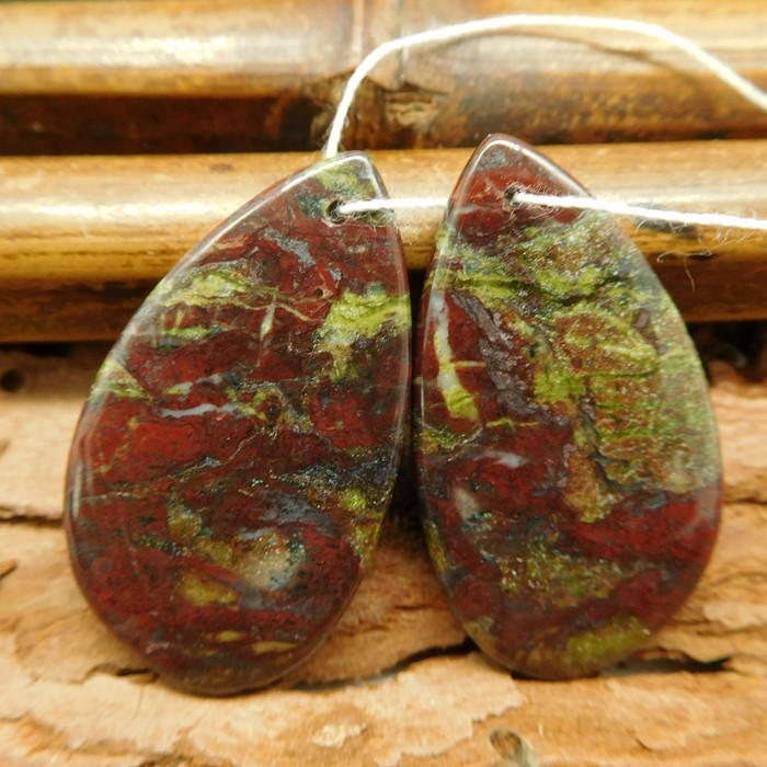 Dragon bloodstone earring pairs (G0762)