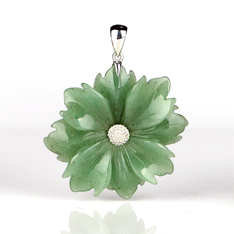 Natural Gemstone Green Aventurine Handcarved Flower Pendant, 925 Sterling S