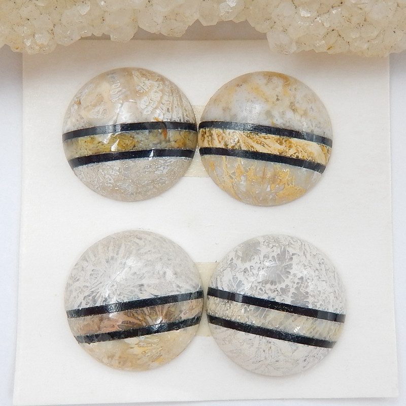 4 Pcs Natural Obsidian And Indonesian Fossil Coral Round Intarsia Gemstone