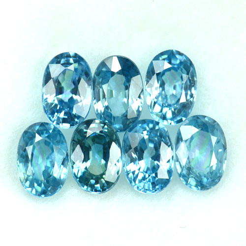 ~SPARKLING~ 6.11 Cts Natural Blue Zircon 6x4mm Oval 7Pcs Cambodia