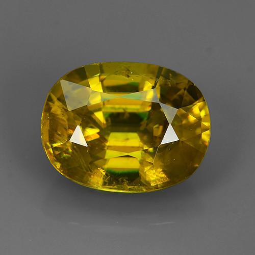 4.90 Cts:Lustrous Vivid Greenish Yellow Hue Natural Sphene!!