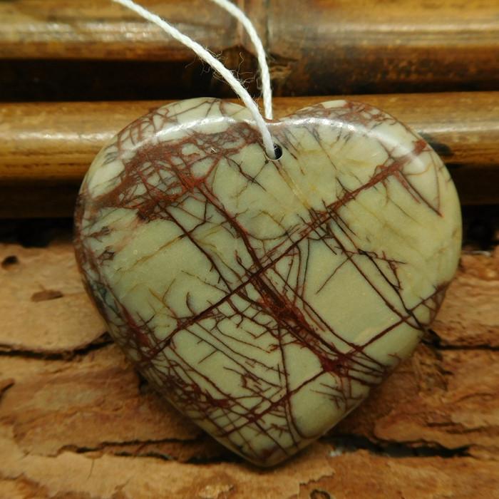 Heart shape picasso jasper pendant bead (G0767)
