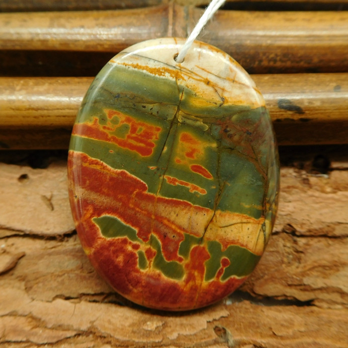 Oval cut picasso jasper pendant (G0769)